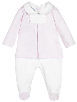 Babidu Baby set pink white stripes - top and pants