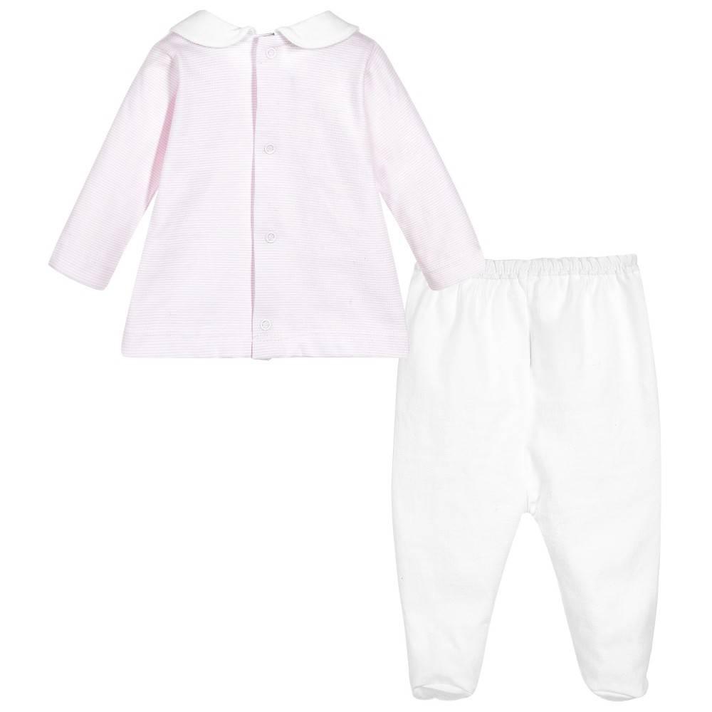 Babidu Baby set pink white stripes - top and pants