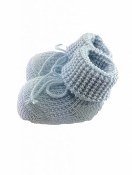 Paolo Romboli Baby booties with knitted pattern - blauw