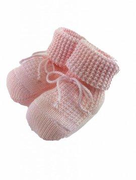 Paolo Romboli Babyslofjes met gebreid patroon - roze