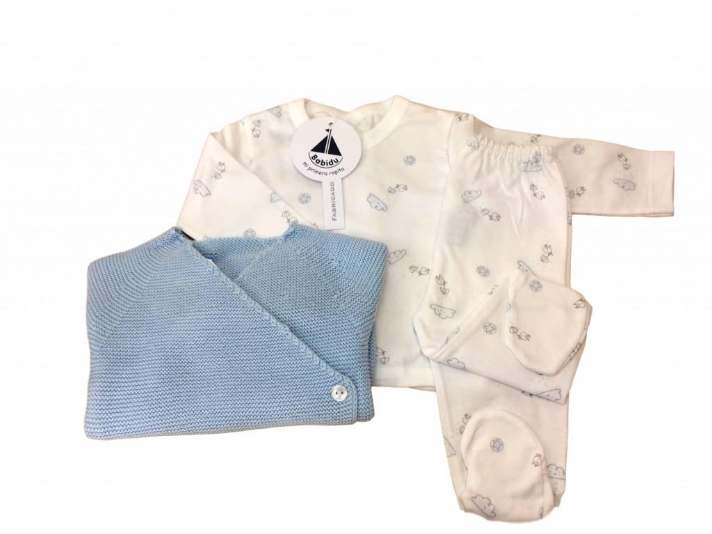 Babidu Babidu babyset met top en broek - wolkjes en vogeltjes - blauw