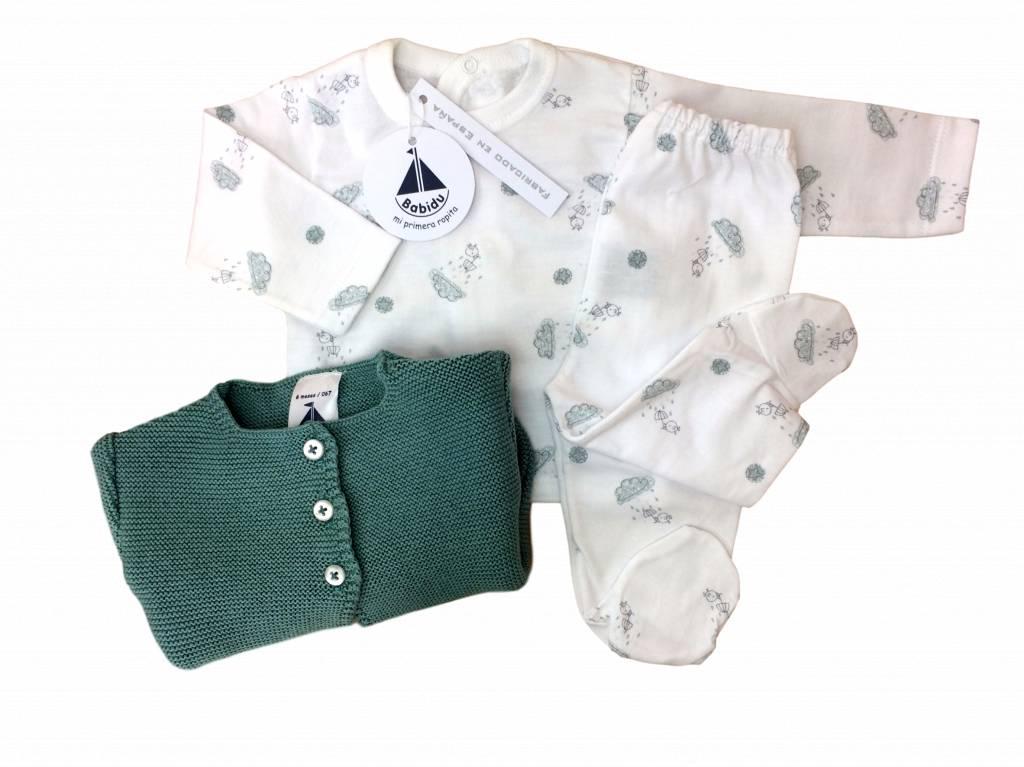 Babidu Babidu babyset met top en broek - wolkjes en vogeltjes - groen