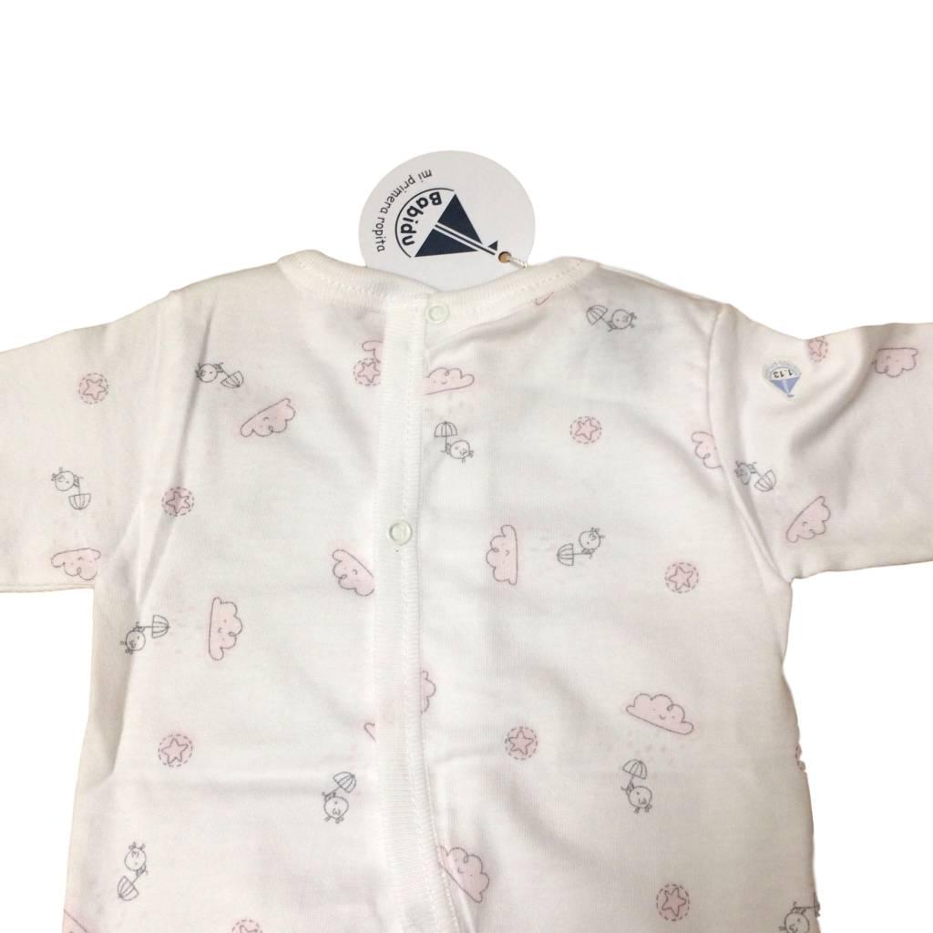 Babidu Babidu babyset met top en broek - wolkjes en vogeltjes - roze