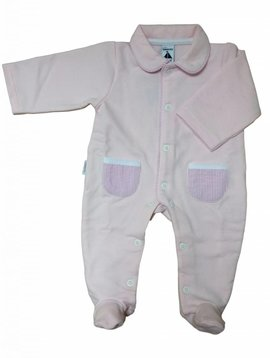 Babidu Babysuit with striped pockets - pink
