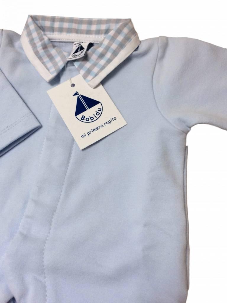 Babidu Babypakje blauw met geruite kraag