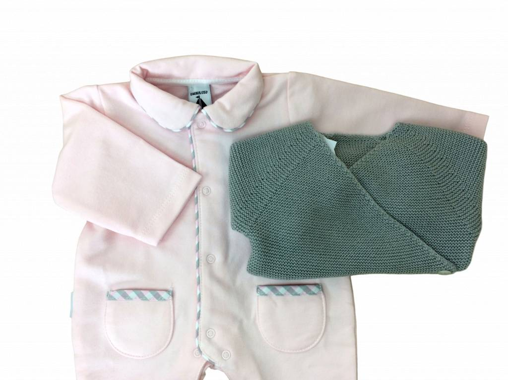 Babidu Babysuit pink with collar