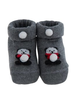 Paolo Romboli Baby booties with bear - grey