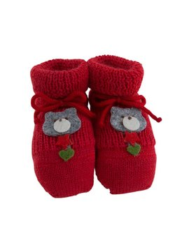 Paolo Romboli Baby booties with Xmas bear – red