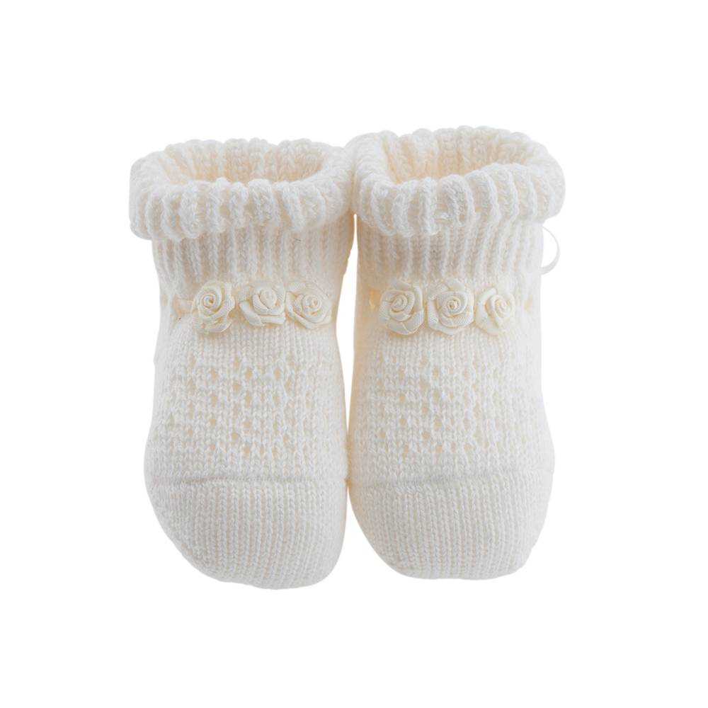 Paolo Romboli Baby booties with roses – off-white