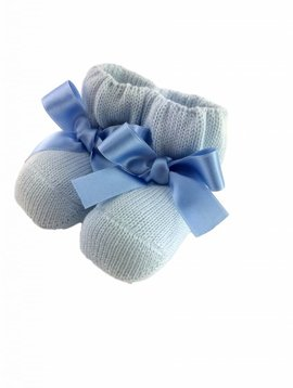 Paolo Romboli Baby booties with satin bow - blue