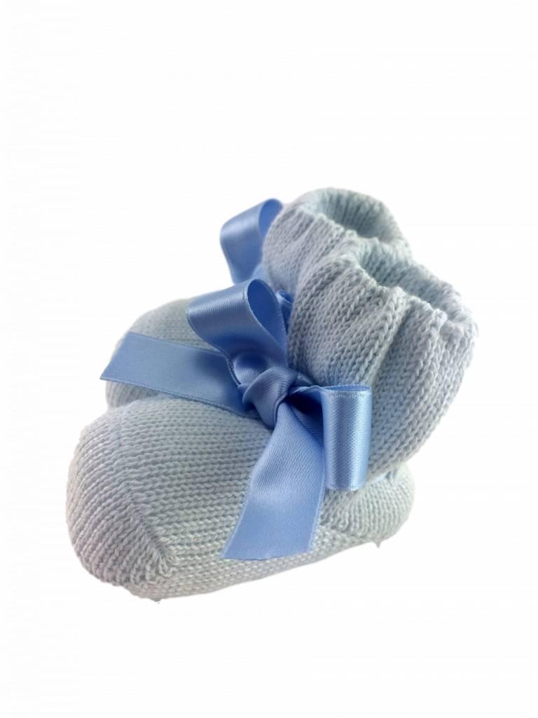 Paolo Romboli Babyslofjes met satijnen strik – blauw