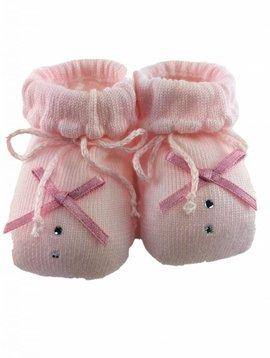 Paolo Romboli Babyslofjes met strikje en diamantje – roze