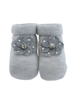 Paolo Romboli Baby booties with flower - grey