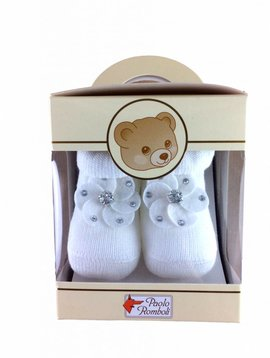 Paolo Romboli Baby booties with flower - off white