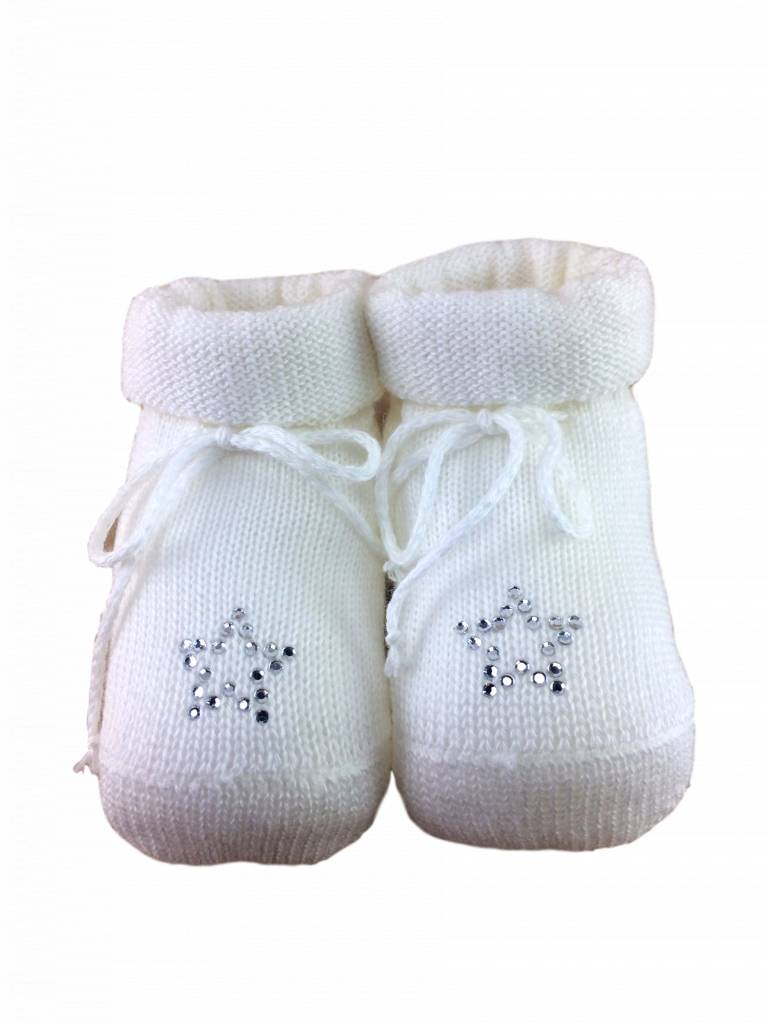 Paolo Romboli Babyslofjes met sterretje – crème wit