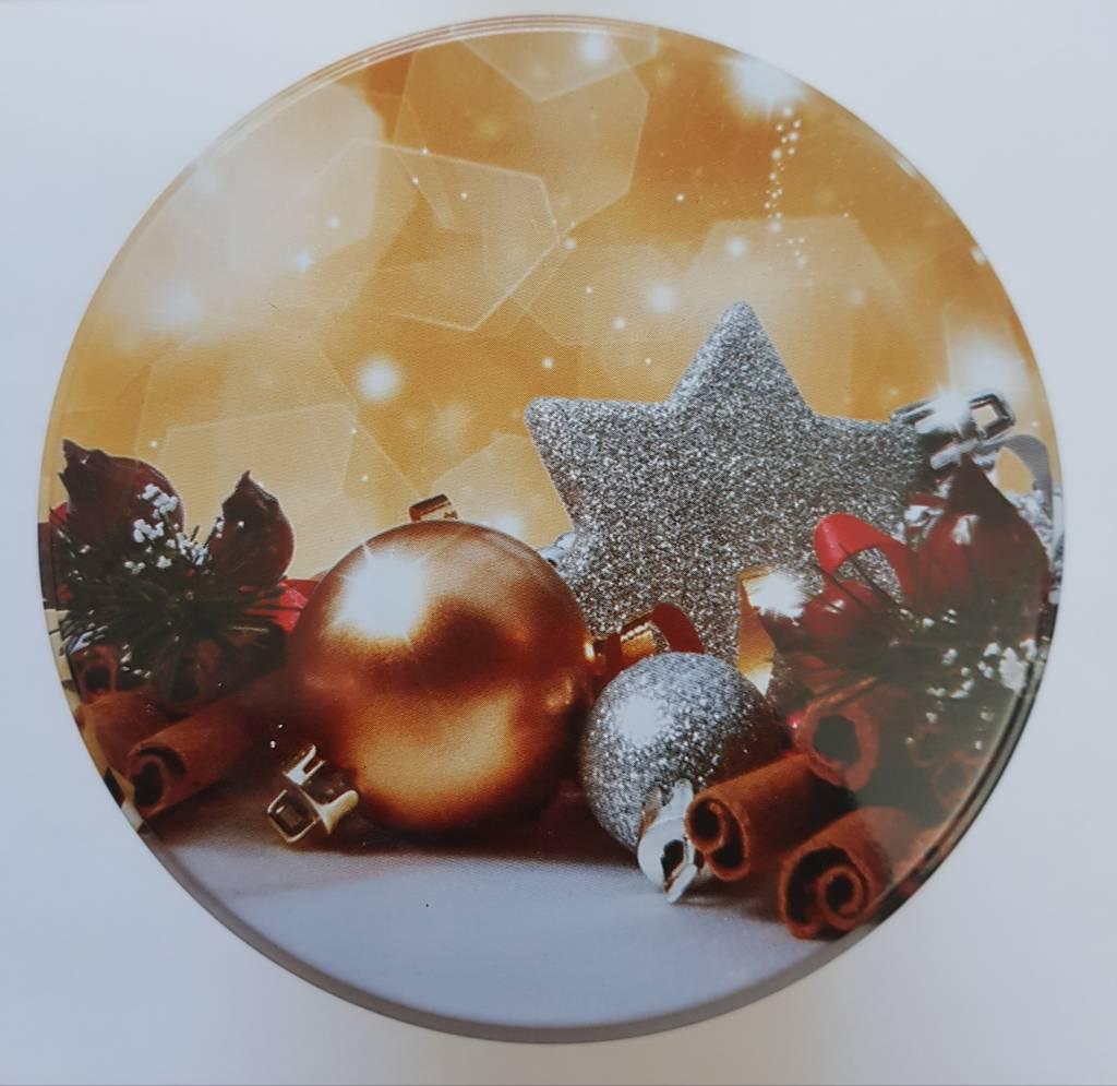 Heerlijke stroopwafels in kerstblik als cadeau