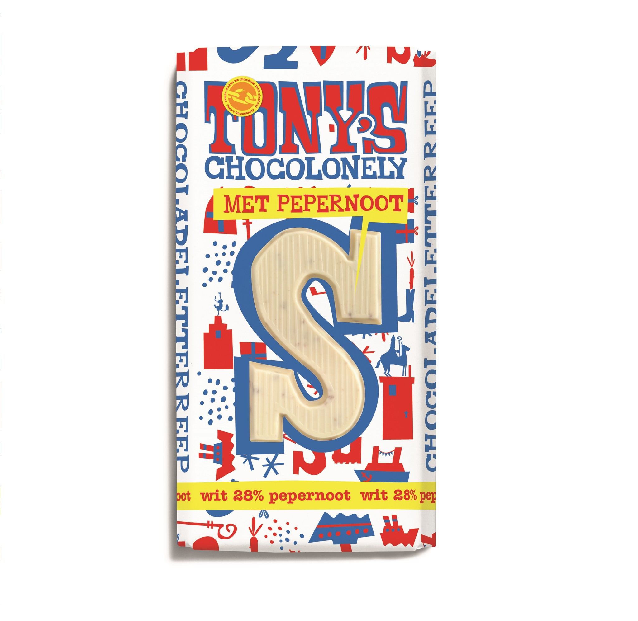 Tony's Chocolonely chocolate letters  Wit pepernoot