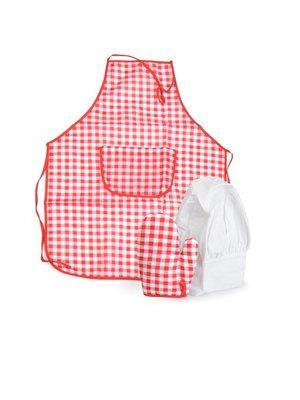 Egmont Egmont Toys - Kinderschort, ovenwant & koksmuts - Rood/wit geruit