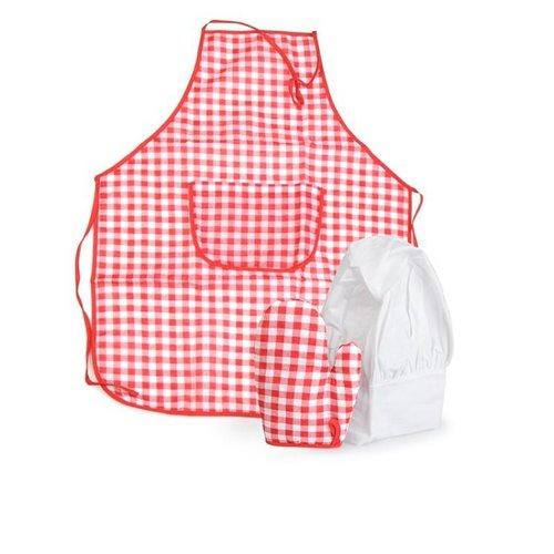 Egmont Kinderschort, ovenwant & koksmuts - Rood / wit geruit