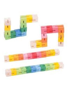 BigJigs Friemelslang - Gekleurde blokjes - 15cm lang - 1st. - Willekerig geleverd