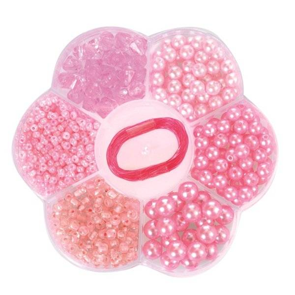 Kralen - Licht roze - In bloemendoosje - in Sieraden maken
