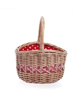 Egmont Egmont Toys - Rieten mand - Rood met witte stippen - 18 cm