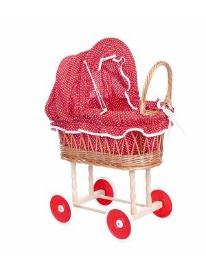 Egmont Egmont Toys - Poppenwagen - Riet - Rood met witte stippen