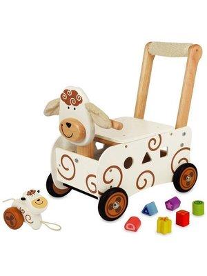 I'm Toy Loopkar / duwwagen - Schaap - Met zacht handvat