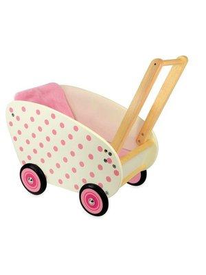 I'm Toy Poppenwagen - Wit - Roze stippen