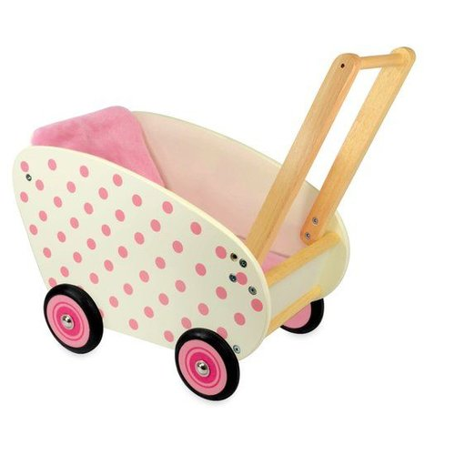 I'm Toy I'm Toy - Poppenwagen - Wit met roze stippen