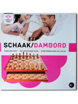 Engelhart Schaak- / dambord - 42cm - In luxe doos