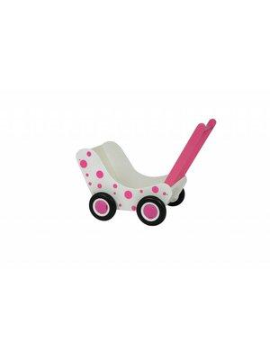 Van Dijk toys Poppenwagen - Wit - Met roze stippen