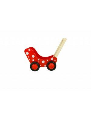 Van Dijk toys Poppenwagen - Rood - Met witte stippen