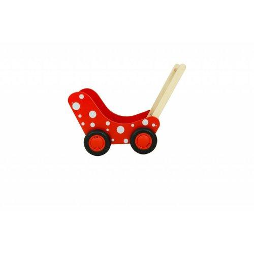 Van Dijk Toys Van Dijk Toys - Poppenwagen - Rood met witte stippen