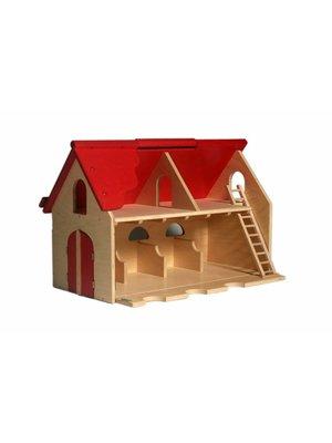 Van Dijk toys Poppenhuis - Boerderij - Met scharnierend dak