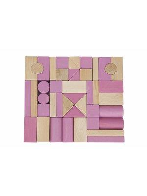 Van Dijk Toys Van Dijk Toys - Blokken - Roze/blank