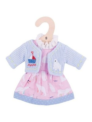 BigJigs Poppenkleren - IJsbeerjurk & blauw vestje - 25cm