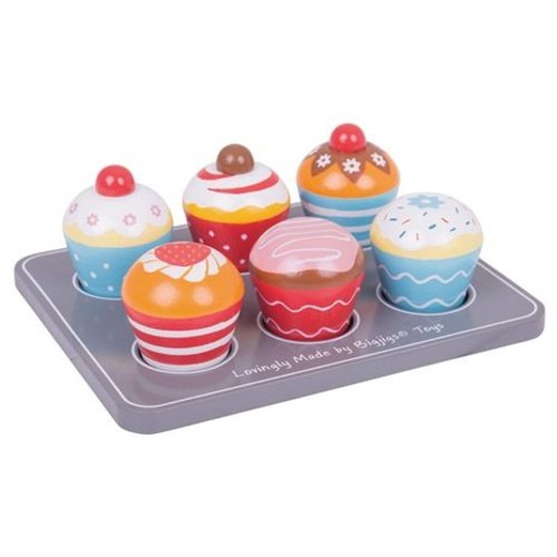 BigJigs Bigjigs - Eten - Kleurige muffins - Op dienblad - Hout - 6st.