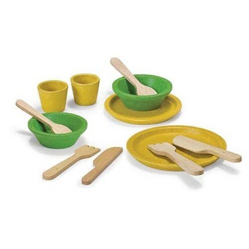Plantoys Eetservies & bestek - Groen & geel