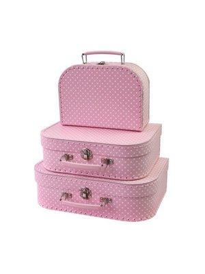 Simply for kids Kofferset - 3 Koffertjes - Roze - Met witte stippen
