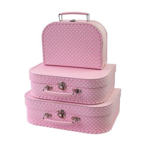 Kofferset - 3 Koffertjes - Roze - Met witte stippen