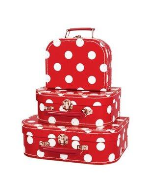 Simply for kids Kofferset - 3 Koffertjes - Rood - Met witte stippen