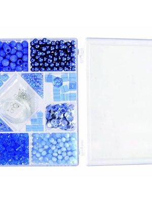 Egmont Kralen - Blauw - In rechthoekig doosje