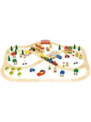 BigJigs Bigjigs - Rails - Treinset - Dorp & platteland - 101dlg.