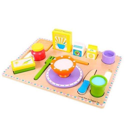 BigJigs Speelgoedeten - Ontbijt - Op dienblad - Hout