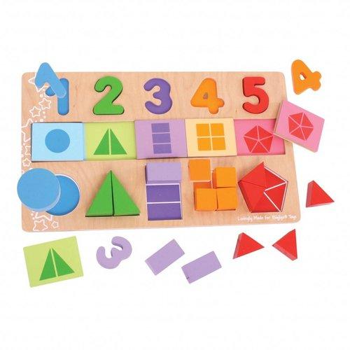BigJigs Bigjigs - Puzzel - Tellen & vormen - 25st.