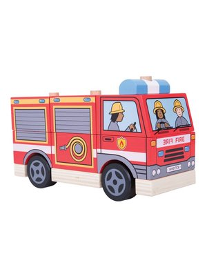 BigJigs Bigjigs - Stapelpuzzel - Brandweerauto