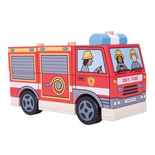 BigJigs Stapelblokken - Brandweerauto