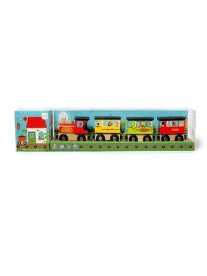 Scratch Houten trein - Rond de wereld - 4dlg.