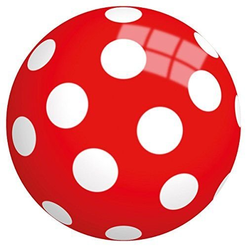 Bal - Lakbal - Rood met witte stippen - 23cm